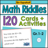 Spanish Math Riddle Task Cards for First & Second Grade Set 1