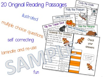 Australian Animals Cards: Reading Comprehension Passages and Questions