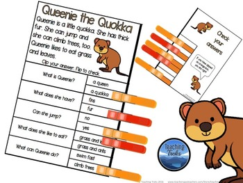 Reading Comprehension Passages with Clothespins: Animal Clip Cards Bundle