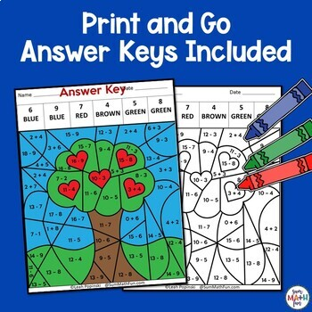 Earth Day Worksheets - Addition Subtraction Facts Color by Number