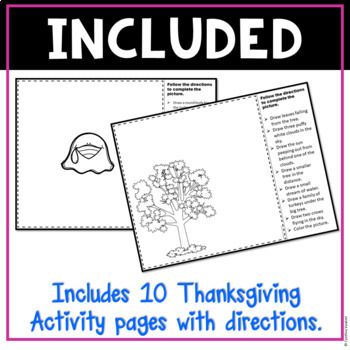 Following Directions Drawings Thanksgiving | Critical Thinking Skills
