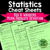 Statistics Cheat Sheets with Box and Whiskers and MAD Distance Learning