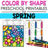 Preschool COLOR BY SHAPE Printables for Spring