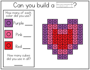VALENTINES THEMED Snap Cube Math Centers