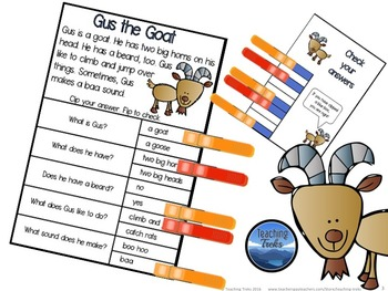 Reading Comprehension Passages Clothespin Activity: Farm Animals Reading Cards