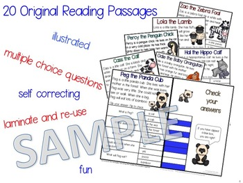 Baby Animals Reading Comprehension Passages and Questions Clip Cards