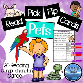 Reading Comprehension Passages Clothespin Activity: Pets Reading Clip Cards
