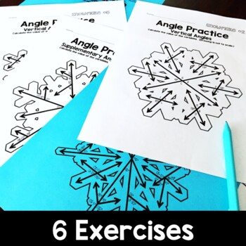 Angles and Equations Practice, Winter Math Activity