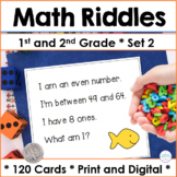 Spiral Review Math Task Cards First Grade and Second Grade Set 2