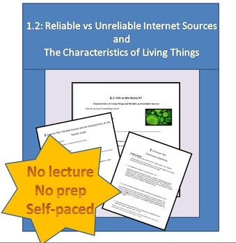 1.2 Reliable vs Unreliable Internet Sources and the Characteristics of Life