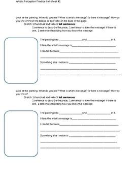 1/2 Sheet Writing Response and Thumbnail Sketch Handout