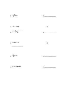 1 & 2 Step Equations Quiz