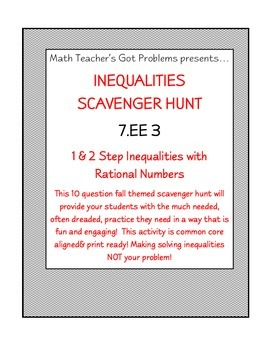Inequalities Scavenger Hunt (1&2 Step/Graphs Included)  7EE3