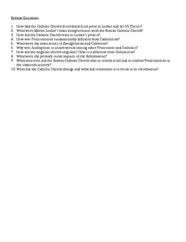1.2 The Protestant Reformation - Content Review Sheet