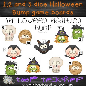 1, 2 and 3 dice Halloween Bump game boards