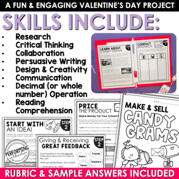 Valentine's Day Project Based Learning | Math and Writing Project