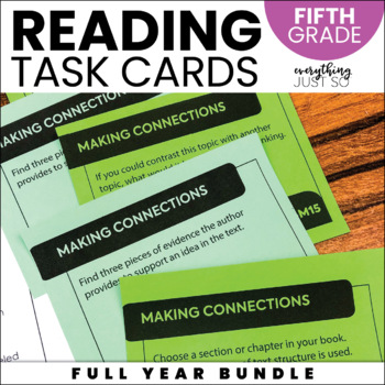 Reading Task Cards   Fifth Grade   Year Long   Editable   Use any book!