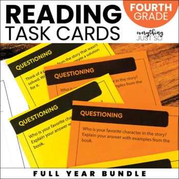 Editable Reading Task Cards | Year Long | Fourth Grade | Use any Book!