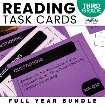 Reading Task Cards | Third Grade | Year Long | Editable