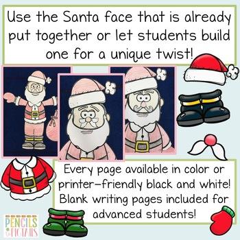 Build A Santa - Fun Craft, Hallway Display, Glyph, & Writing Prompts!