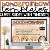 Classroom Slides Boho Modern Rainbow Theme with Timers