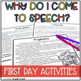 First Day of Speech | Back to School Speech Therapy Ideas