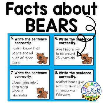 Sentence Editing Task Cards (facts about bears)