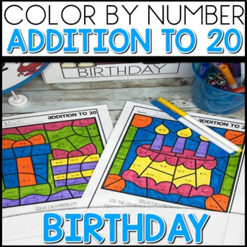 1 2 off for 24 hours color by number birthday worksheets add up to 20. Black Bedroom Furniture Sets. Home Design Ideas