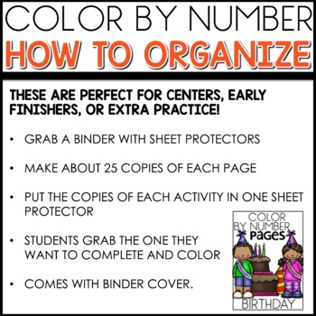 Color by Number BIRTHDAY Worksheets ADDITION TO 12