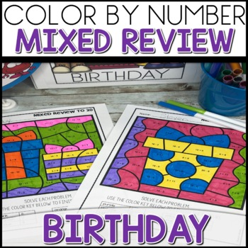 1 2 off for 24 hours color by number birthday worksheets mixed up to 20. Black Bedroom Furniture Sets. Home Design Ideas