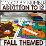 Color by Number FALL Worksheets ADDITION TO 12