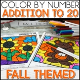 Color by Number FALL Worksheets ADDITION UP TO 20