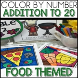 1/2 off for 24 hours ❤️ Color by Number FOOD Worksheets ADD UP TO 20