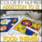1/2 off for 24 hours ❤️ Color by Number FOOD Worksheets ADDITION TO 12
