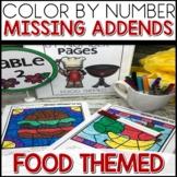 1/2 off for 24 hours ❤️ Color by Number FOOD Worksheets MISSING ADDENDS