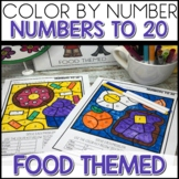 1/2 off for 24 hours ❤️ Color by Number FOOD Worksheets NUMBERS TO 20