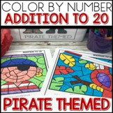 Color by Number PIRATE Worksheets ADD UP TO 20