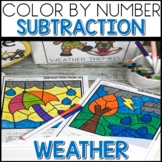 Color by Number Weather Worksheets Subtraction within 20