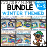 Addition and Subtraction Color By Number Worksheets Winter