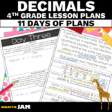 4th Grade Decimal Lesson Plans with Answer Keys