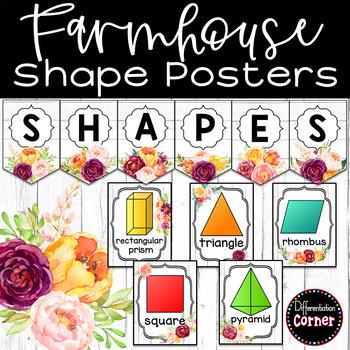 Farmhouse Classroom Decor Shape Posters