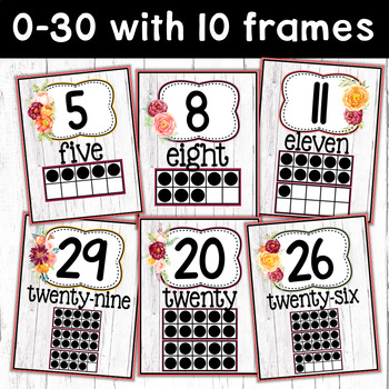 Farmhouse Classroom Number Posters and Number Line