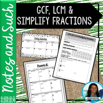 LCM, GCF, and Simplifying Fractions Notes and Such 6.NS.B.2 6.NS.B.4