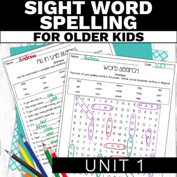 Modified High Frequency Word Spelling Activities 1 - Special Education Spelling