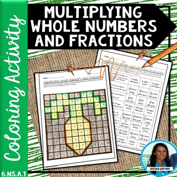 Multiplying Whole Numbers and Fractions Coloring Activity 6.NS.A.1