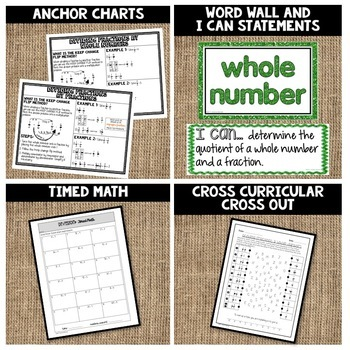 Dividing with Fractions and Whole Numbers Lesson Bundle 6.NS.A.1