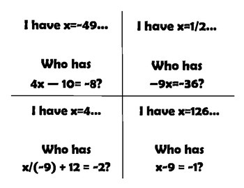 1 & 2 step equations I have...who has...