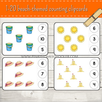 1-20 Beach Themed Counting Clipcards Activity