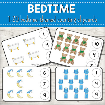 1-20 Bedtime Themed Counting Clipcards Activity