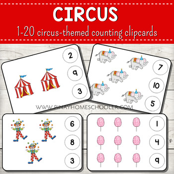 1-20 Circus Themed Counting Clipcards Activity